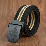 Male Field Tactical Belt  Men's Weave Canvas belt mens waist Unisebelt Casual Cargo Belt Military fans Automatic Buckle-Belt