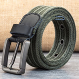 Mens Canvas Belts Male Pin Buckle Belt for Men Straps Belt cCeintures Unisex Metal Buckle Knitted Jeans Belts 110-130 CM