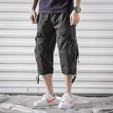 Men Cargo Pants Mens Casual Calf-Length Pants Man Loose Cropped Trousers Multi-pocket Beamed Overalls Male Sports Short Pants 40