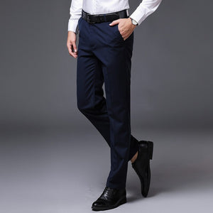 Summer Men Dress Pants Straight Business Office Casual Long Pants Suit Pants Male Black Formal Trousers Plus Big Size 28-42