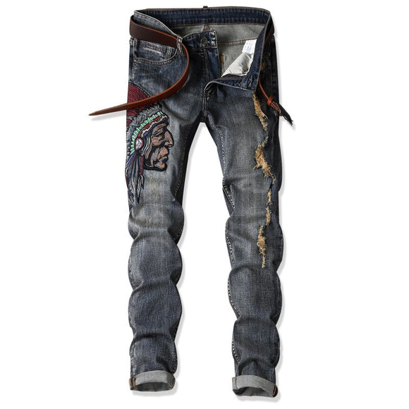 Men Jeans grey High Stretch Denim Ripped Design Brand Men Motorcycle Pants Punk Homme Slim Fit Retro Embroidery Hip Hop Trousers