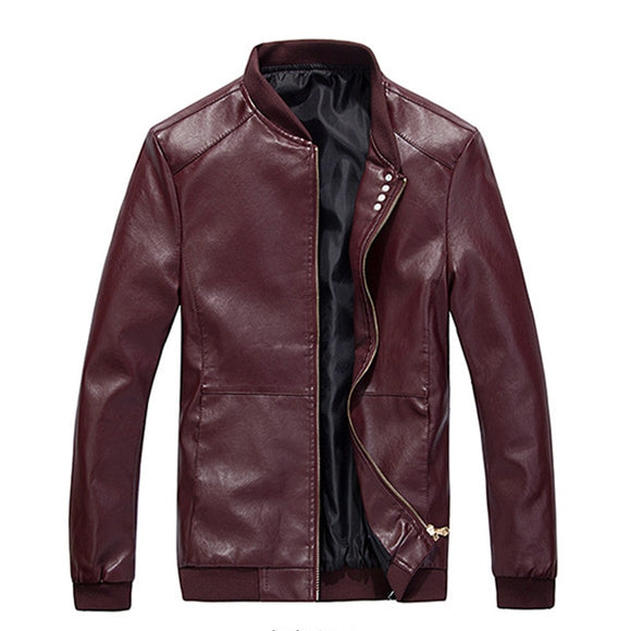MRMT 2020 Brand Spring Autumn Men's Jackets Thin Section Collar Pure Color for Male PU Leather Jacket Clothing Garment