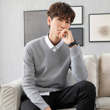 MRMT 2020 Brand Autumn New Men's Sweater V Collar Young Long Sleeves Pure Color Pure Cotton Pullover for Male Knitted Sweater