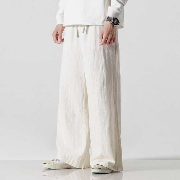 Men Hip Hop Baggy Cotton Linen Harem Pants Men Wide Leg Trousers Oversized Loose Elastic Up Waist Trousers Casual Pants