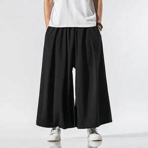 Men Linen Baggy Pants 2020 Mens  Chinese Style Draped Solid Cotton Pants Man Traditional Wide Leg Pants Male Hip Hop Trousers