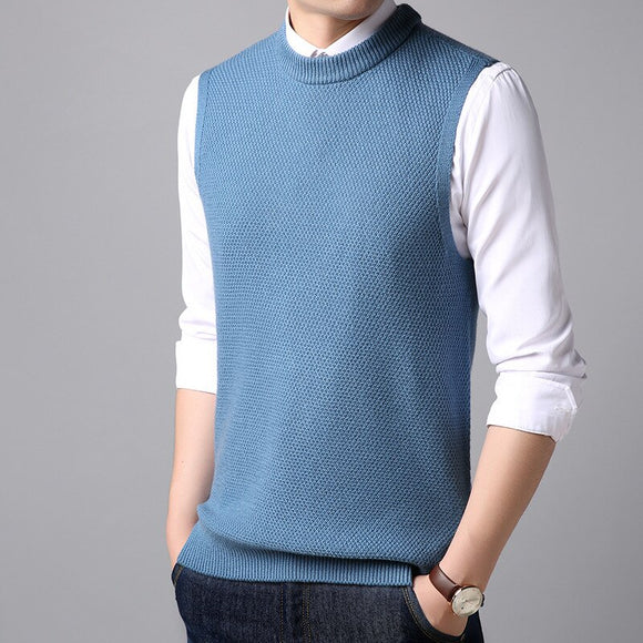 MRMT 2020 Brand New Autumn Men's Wool Vest Solid Color Round Neck Casual Warm Vest for Male Tops Knitted Vest