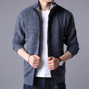 MRMT 2018 Brand Men's Jackets Cashmere Knit Sweater Fashion Youth Solid Color Stand Collar Sweater Jacket Apparel