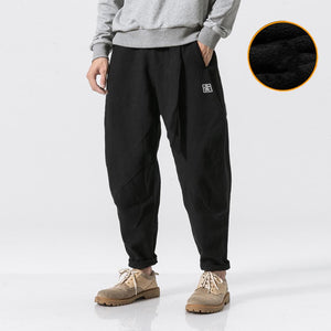 Men Fleece Pants 2020 Winter Mens Linen Cotton Warm Pants Thick Harem Pants Male Harajuku Streetwear Trousers HipHop Jogger Pant