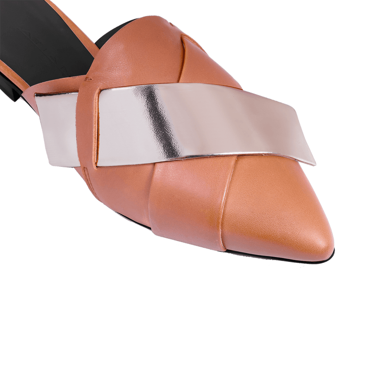 Origami Tan Slipper - Strap Detail