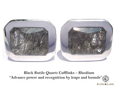 Elite & Luck Black Rutile Quartz Cufflinks for men