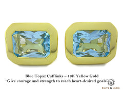 Blue Topaz Sterling Silver Cufflinks, 18K Yellow Gold plated, Classic Model