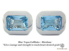 Blue Topaz Sterling Silver Cufflinks for Men, Rhodium plated