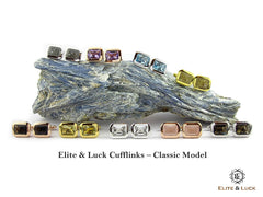 Elite & Luck Gemstone Sterling Silver Cufflinks for Men, Classic Model