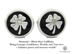 Elite & Luck Diamond + Black Onyx Sterling Silver Cufflinks, Rhodium plated, Lucky Model