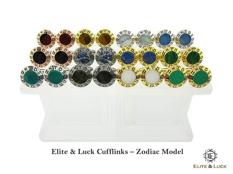 Elite & Luck Gemstone Cufflinks for Men, Zodiac Model