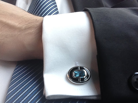 Luxury Gemstone Cufflinks for Executives by Elite & Luck