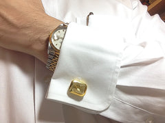 Golden Rutile Quartz Sterling Silver Cufflinks, 18K Yellow Gold plated, Classic Model