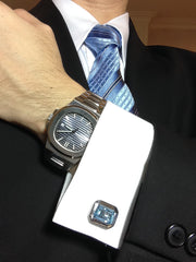 Blue Topaz Sterling Silver Cufflinks with Patek Philippe