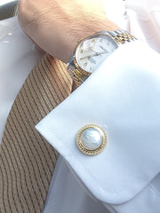 Elite & Luck Mother of Pearl Sterling Silver Cufflinks, 18K Yellow Gold plated, Elegant Model