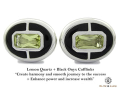 Lemon Quarts with Black Onyx Sterling Silver Cufflinks for Men, Rhodium plated