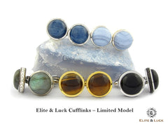 Elite & Luck Gemstone Sterling Silver Cufflinks for Men, Limited Model
