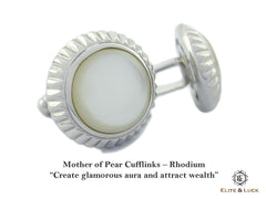 Mother of Pearl Sterling Silver Cufflinks, Rhodium plated, Elegant Model