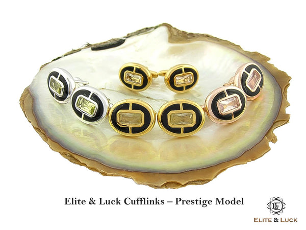 Elite & Luck Gemstone Cufflinks for Men, Prestige Model