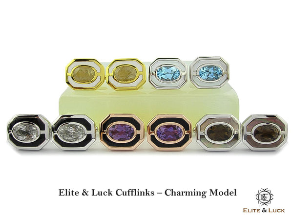 Elite & Luck Gemstone Cufflinks for Men, Charming Model