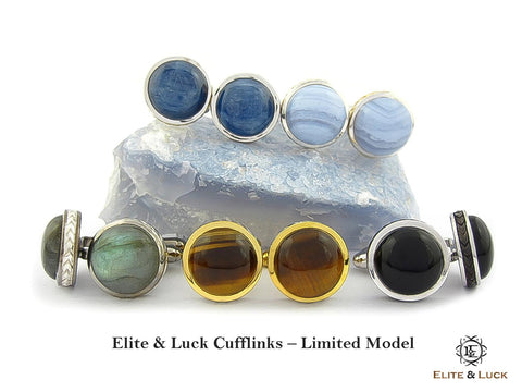 Elite & Luck Gemstone Cufflinks for Men, Limited Model