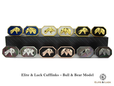 Elite & Luck Gemstone Cufflinks for Men, Bull & Bear Model