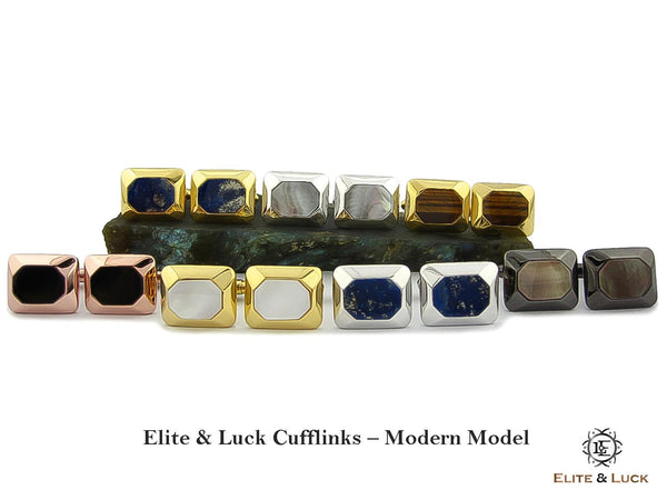 Elite & Luck Gemstone Cufflinks for Men, Modern Model