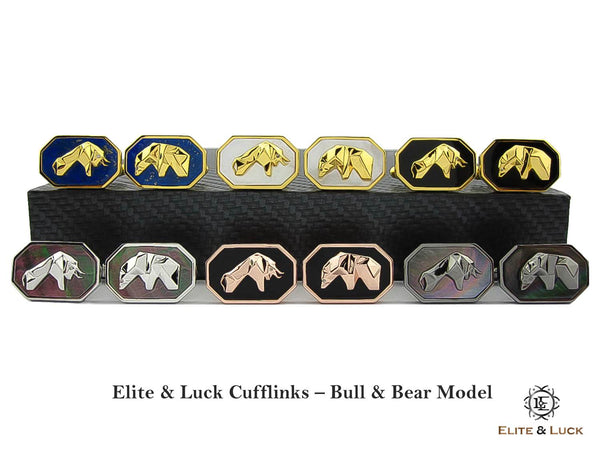 Elite & Luck Gemstone Cufflinks, Bull & Bear Model