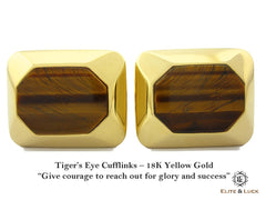 Tiger's Eye Sterling Silver Cufflinks, Rhodium plated, Modern Model