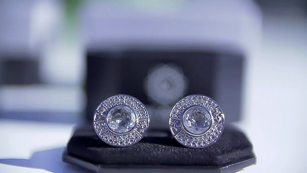White Topaz Sterling Silver Cufflinks, Black Rhodium plated, Royal Model