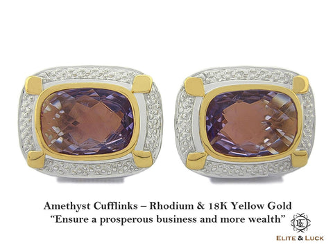 Amethyst Sterling Silver Cufflinks, Rhodium & 18K Yellow Gold plated, Luxury Model