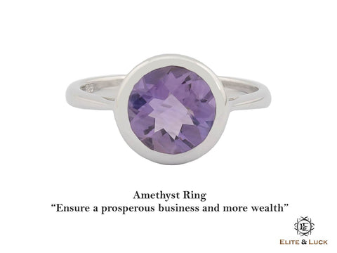 Amethyst Sterling Silver Ring, Rhodium plated, Dashing Model