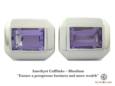 Amethyst Sterling Silver Cufflinks, Rhodium plated, Elite Model