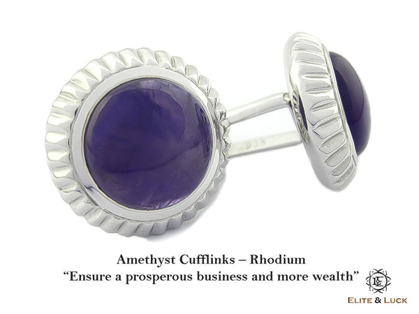 Amethyst Sterling Silver Cufflinks, Rhodium plated, Elegant Model