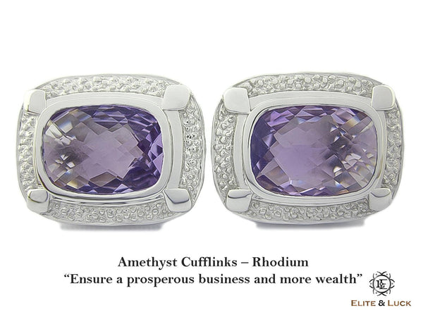 Amethyst Sterling Silver Cufflinks, Rhodium plated, Luxury Model