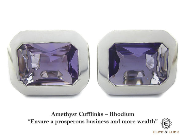 Amethyst Sterling Silver Cufflinks, Rhodium plated, Classic Model