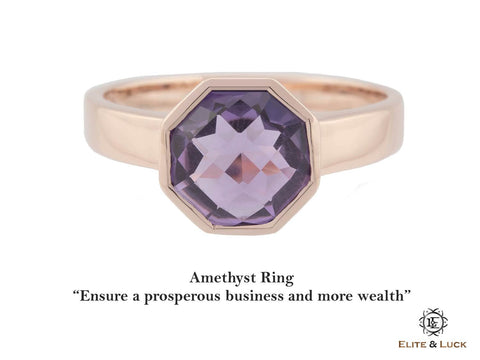 Amethyst Sterling Silver Ring, Rose Gold plated, Glamorous Model