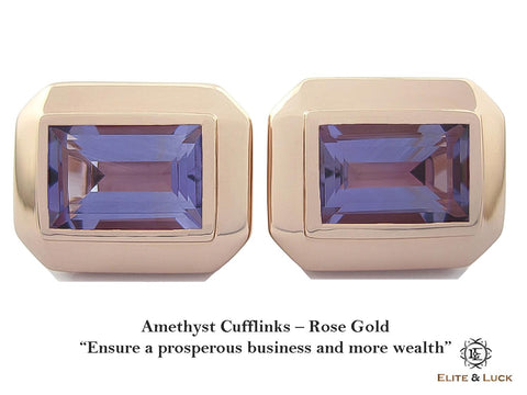 Amethyst Sterling Silver Cufflinks, Rose Gold plated, Elite Model