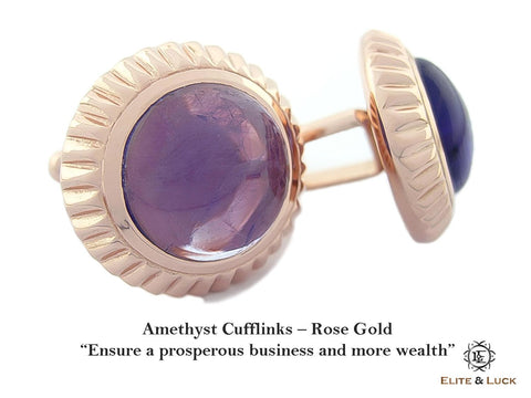 Amethyst Sterling Silver Cufflinks, Rose Gold plated, Elegant Model