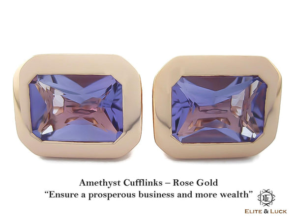 Amethyst Sterling Silver Cufflinks, Rose Gold plated, Classic Model