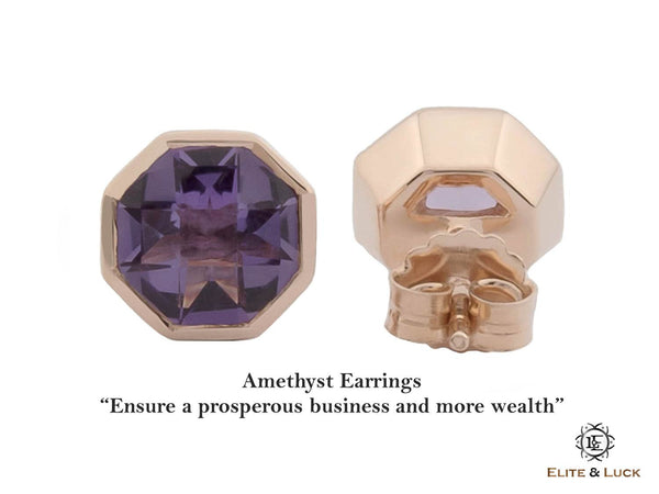 Amethyst Sterling Silver Earrings, Rose Gold plated, Glamorous Model