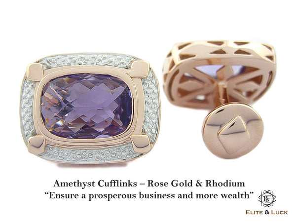 Amethyst Sterling Silver Cufflinks, Rose Gold & Rhodium plated, Luxury Model