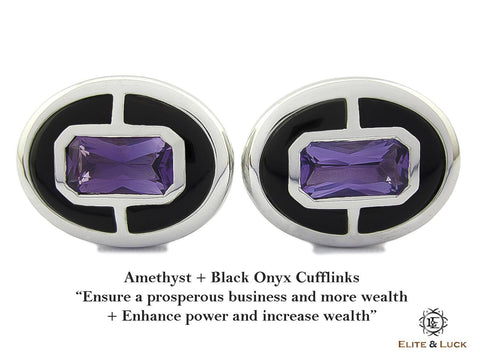 Amethyst + Black Onyx Sterling Silver Cufflinks, Rhodium plated, Prestige Model