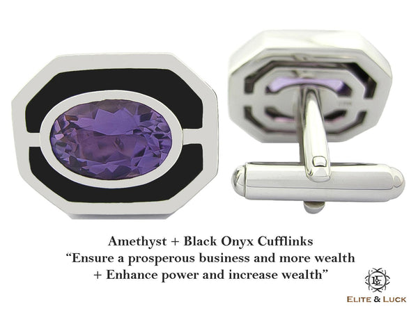 Amethyst + Black Onyx Sterling Silver Cufflinks, Rhodium plated, Charming Model