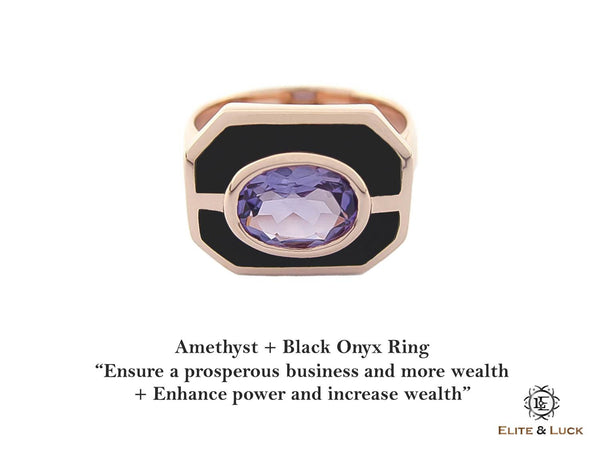 Amethyst + Black Onyx Sterling Silver Ring, Rose Gold plated, Charming Model