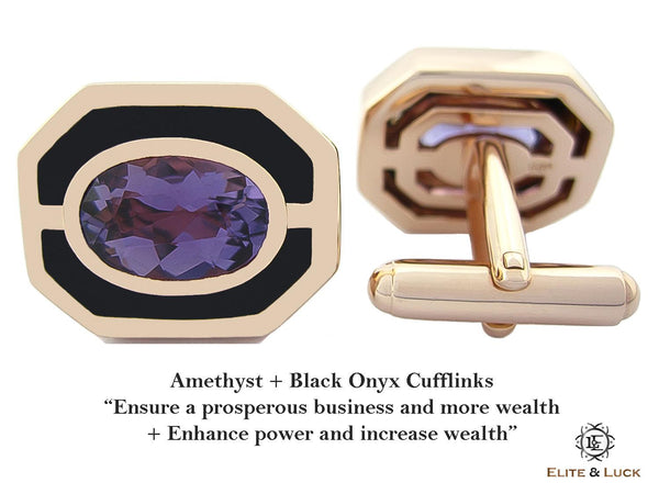 Amethyst + Black Onyx Sterling Silver Cufflinks, Rose Gold plated, Charming Model